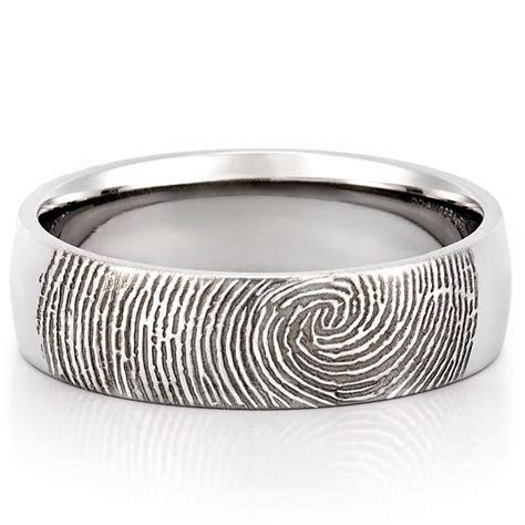 Fingerprint Wedding Band   Men's Fingerprint on Outside of