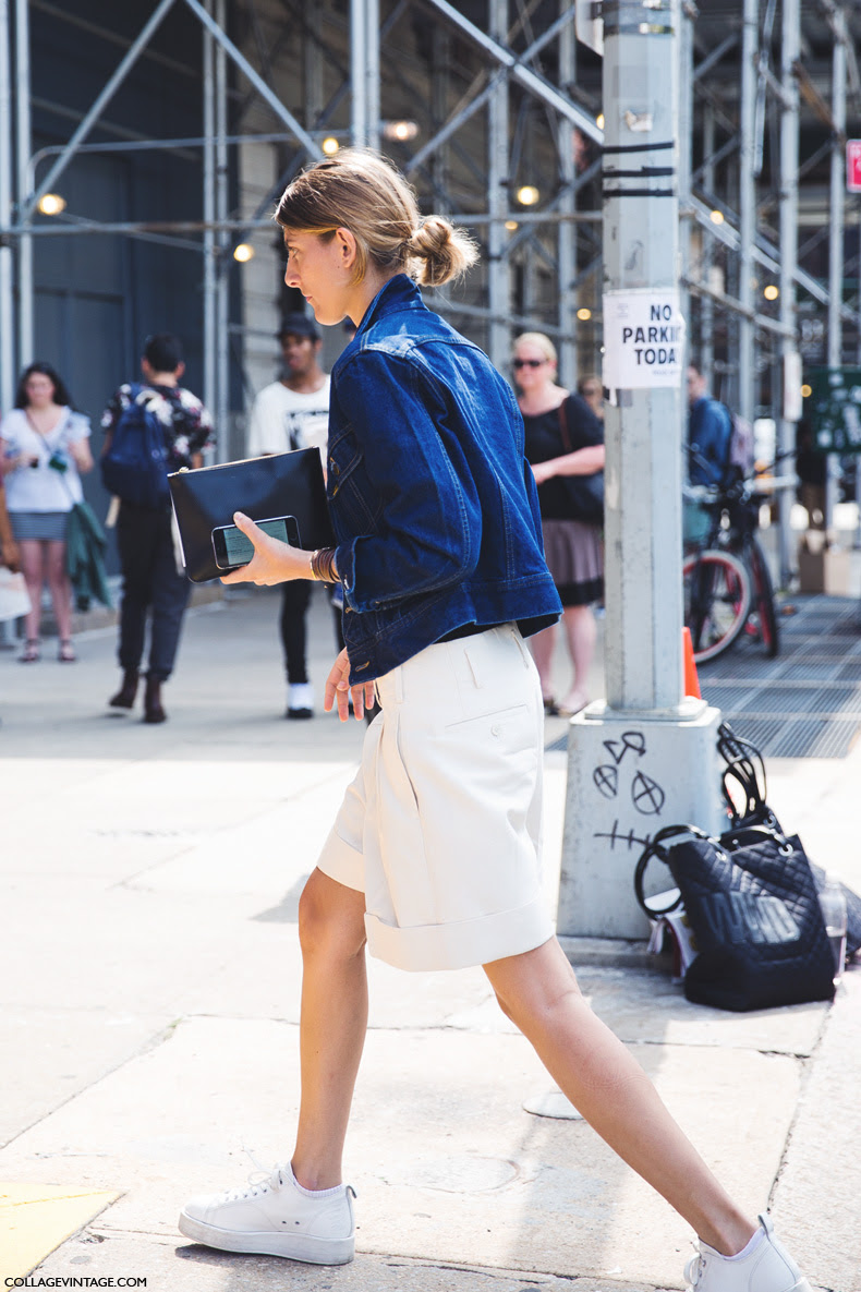 New_York_Fashion_Week_Spring_Summer_15-NYFW-Street_Style-Denim_Jacket-Sneakers-White_Shorts-