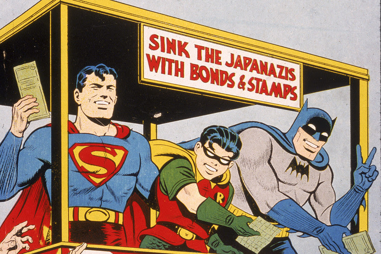 """Cover illustration for 'World's Finest Comics,' with Superman, Batman and Robin selling US War Bonds to sink the 'Japanazis"""""""