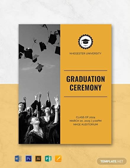 FREE Graduation Programs Template   Word   PSD   InDesign