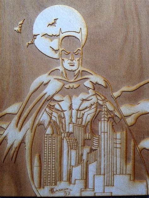 Batman Art   Engraved Wood Picture   White and nerdy