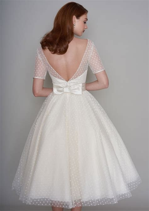 Classic 1950's style tea length wedding dress