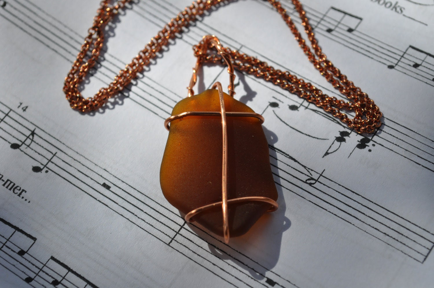 Elegant Wire Wrapped Brown Sea Glass from Hawai'i on Copper Chain