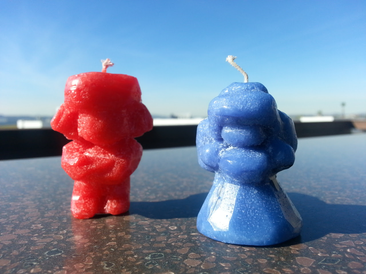Made these Ruby and Sapphire candle carvings out of some nice scented Yankee Candles! Ruby is 'Macintosh Apple' and Sapphire is 'Blueberry Muffin'
