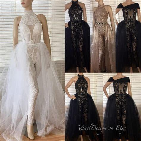 Jumpsuit Wedding Dress Bodysuit Detachable Skirt Wedding
