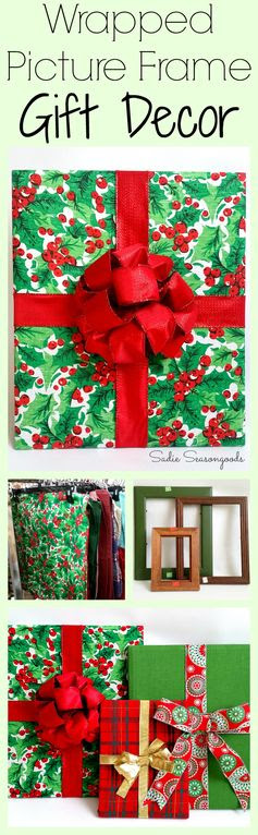 "Colorful, festive Christmas decor on a budget- now THAT'S what I'm talking about! Create holiday ""gift"" decor (perfect for your mantel or on the wall) using empty picture frames and cloth napkins, placemats, and hand towels- all from the thrift store! Fun Christmas upcycle / repurpose craft DIY project from #SadieSeasongoods ."