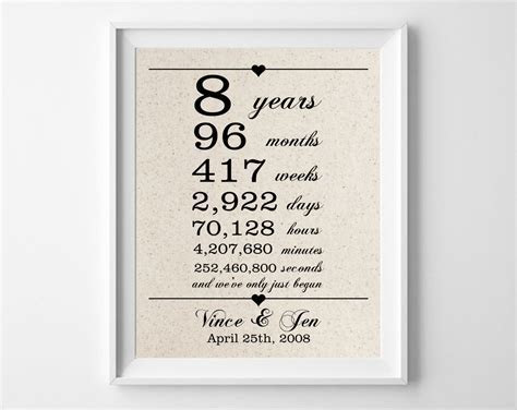 8 years together Cotton Gift Print 8th Anniversary Gifts
