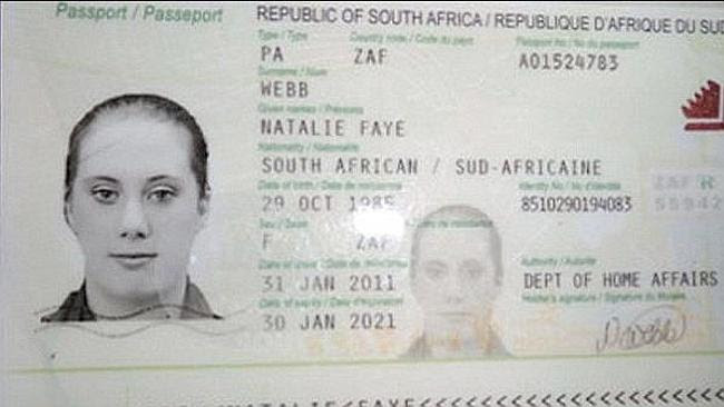 Wanted terrorist ... False South African passport in name of Natalie Faye Webb, thought t