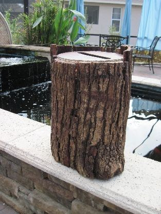 Large Tree Stump Wedding Card Envelope Box - Card holder. $95.00, via Etsy.