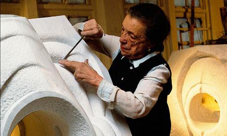 Artist Louise Bourgeois in her Brooklyn studio
