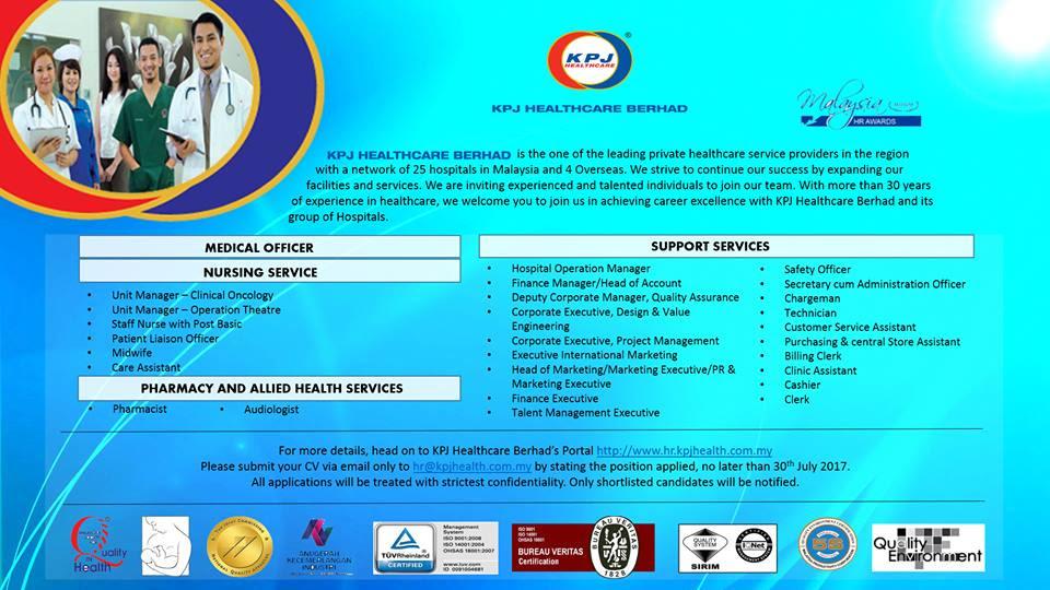 Career in KPJ HEALTHCARE BERHAD