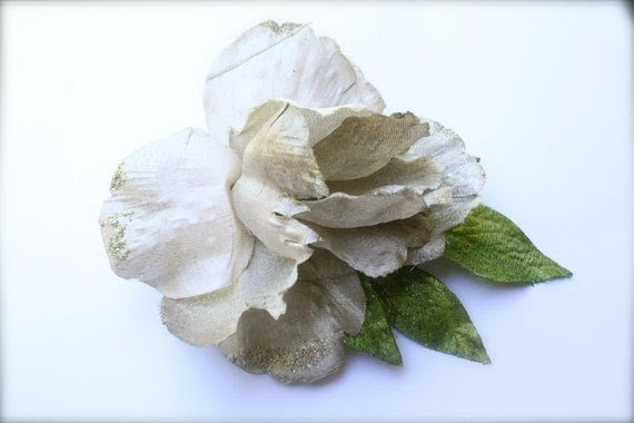Ivory Wedding Bridal Fabric Flower Hair Clip Fascinator