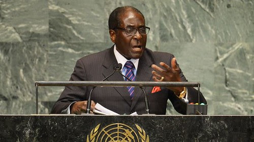 Republic of Zimbabwe President Robert Mugabe addressing the United Nations General Assembly in New York City on September 26, 2012. Mugabe condemned the imperialist war against Libya and the assassination of its leader Col. Muammar Gaddafi. by Pan-African News Wire File Photos