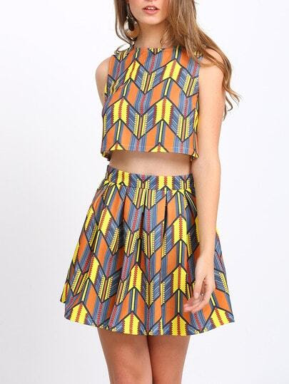 Multicolor Print Crop Tank Top With Skirt pictures