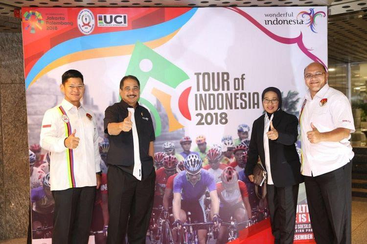 Balap sepeda taraf internasional, Tour of Indonesia segera digelar pada 25 hingga 28 Januari 2018. Menteri Pariwisata Arief Yahya bersama dengan Ketua Umum Pengurus Besar Ikatan Sport Sepeda Indonesia (PB ISI) Raja Sapta Oktohari meluncurkan Tour of Indonesia 2018 pada Senin (11/12/2017).