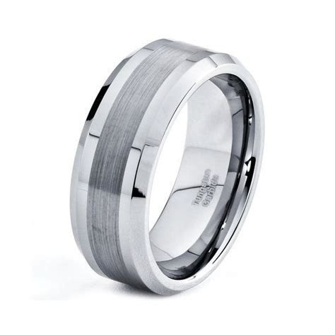 Mens 8mm Tungsten Wedding Band, Brushed Carbide Custom