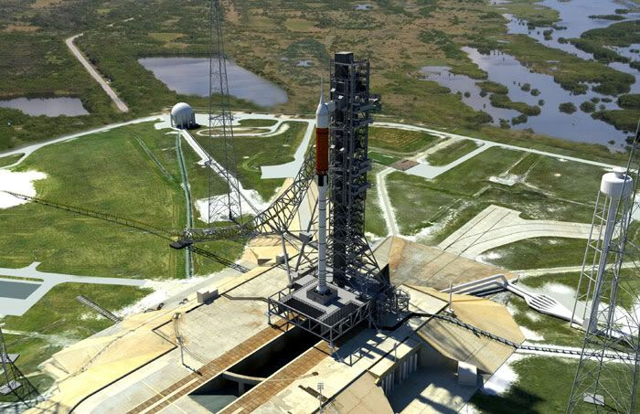 An artist's concept of the Ares I rocket at Kennedy Space Center's Launch Pad 39B.