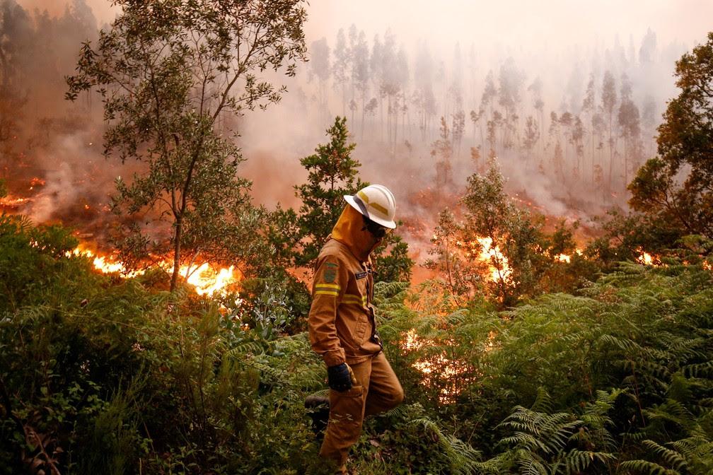 Bombeiro trabalha no combate às chamas em Fato, região central de Portugal (Foto: Reuters/Rafael Marchante)