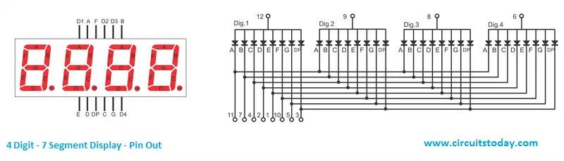4 digit 7 segment Display Pin Out Diagram