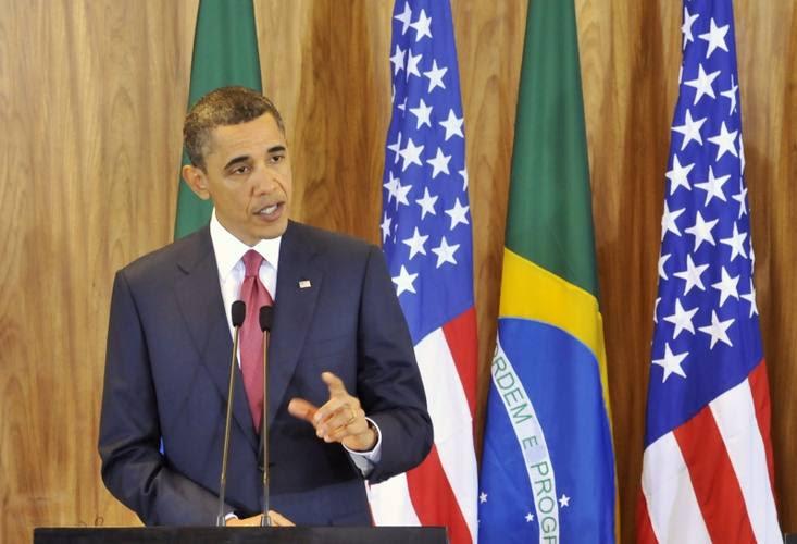 O presidente dos Estados Unidos, Barack Obama,durante declaração conjunta, no Palácio do Planalto