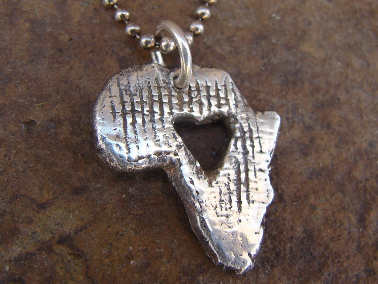 Africa necklace-Heart for AFRICA -necklace