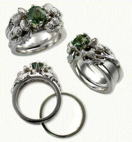 Thistle Reverse Cradle Engagement Rings   custom celtic