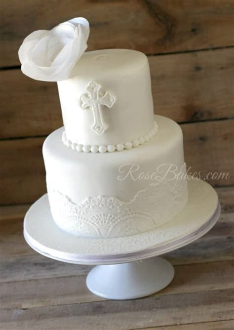 White Lace Christening Cake with Wafer Paper Flower   Rose