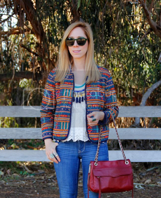 LA fashion blogger The Key To Chic wears a tassel necklace, quilted Forever 21 jacket, lace top, Old Navy Rock star skinny jeans, Rebecca Minoff Swing bag, and Warby Parker Quimby Sunglasses