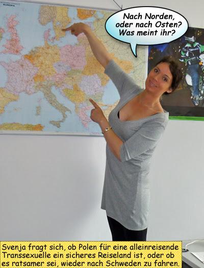 Svenja an der Landkarte Endurowandern in Masuren oder auf dem Fjell