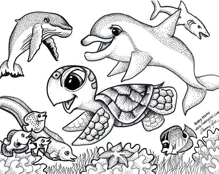 Lukisan Hidupan Laut Hitam Putih Cikimm Com