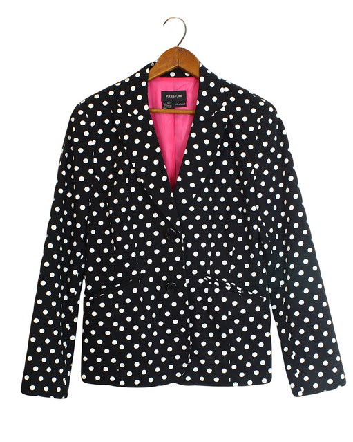 Black and white polka dot blazer