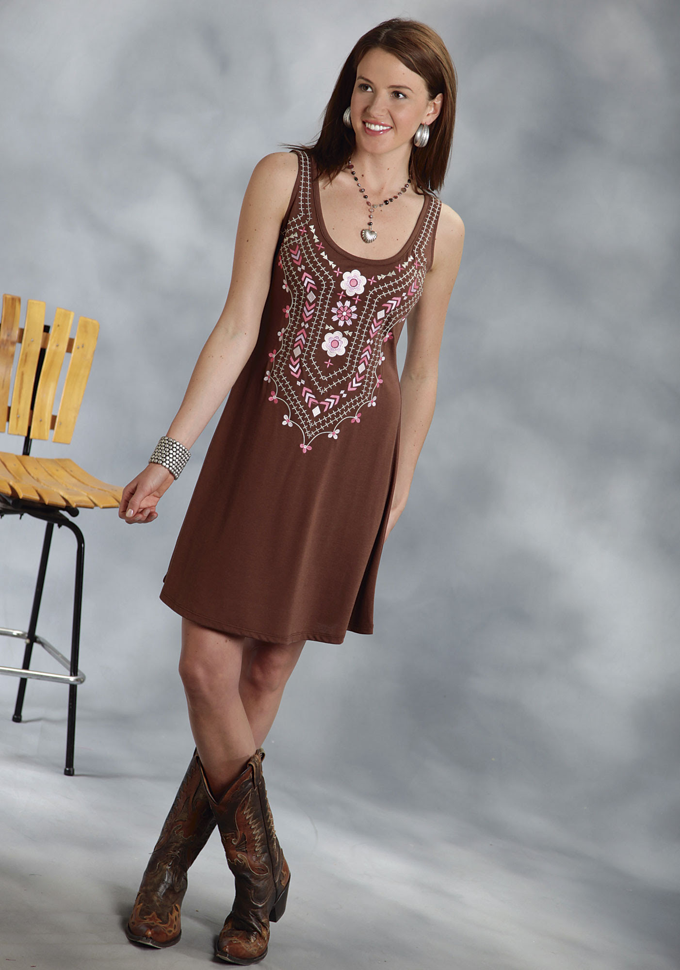 roper® brown embroidered aline sleeveless jersey western