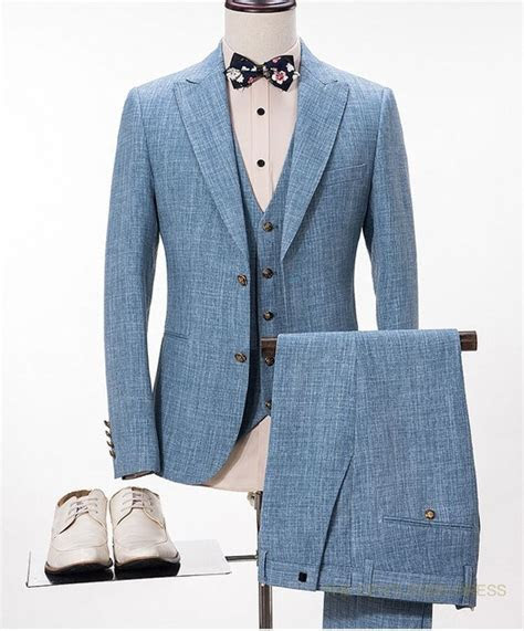 2017 Latest Coat Pant Designs Light Blue Linen Wedding
