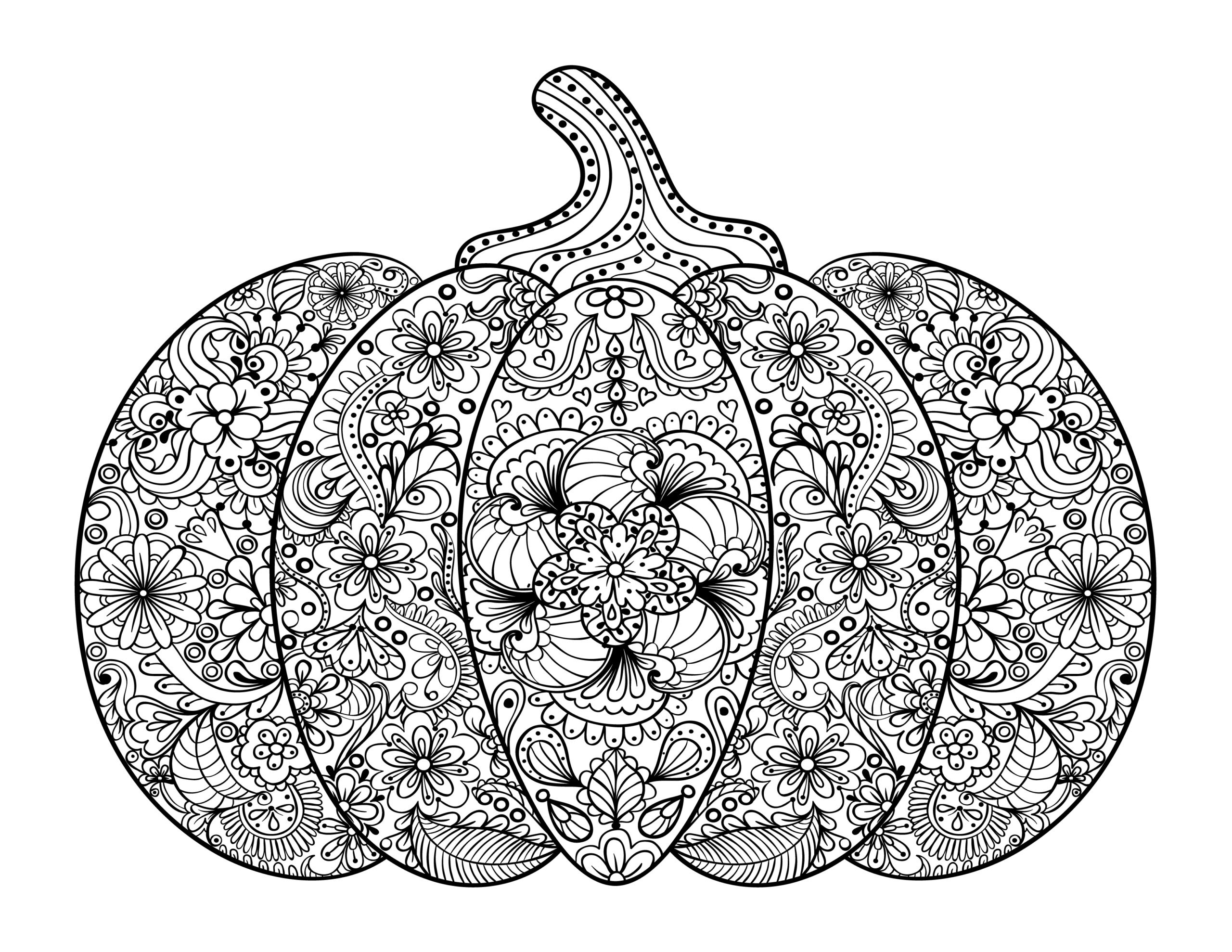 Free Adult Coloring Pages- Pumpkin Delight! - Free Pretty ...