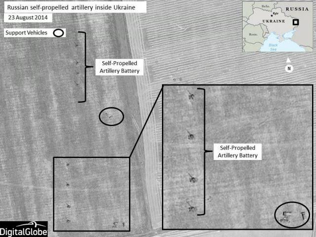 La OTAN lanzó nuevas imágenes de satélite en Jueves, 28 de agosto 2014, que muestran las fuerzas de combate rusos que participan en operaciones militares en el interior del territorio soberano de Ucrania. Las imágenes, captadas a finales de agosto, representan unidades de artillería autopropulsados rusos se mueven en un convoy a través del campo ucraniano y luego se preparan para la acción mediante el establecimiento de posiciones de fuego en la zona de Krasnodon, Ucrania.