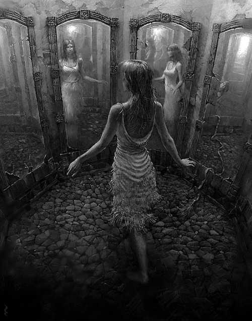 darkestdee:  mirrorby25kartinok|^(OvO)^  THE NIGHTMARE Linda felt caught in a nightmare that she couldn't escape from. It felt too real to be a nightmare but she couldn't wake up.    She chose the Fun House. She stepped into a room full of mirrors that made her multiple reflections appear distorted and unreal. She couldn't figure out why she'd run into the Fun House if in every horror movie the victims were always portrayed as being terrorized there. She hoped this wasn't another game of The Dead. She was determined to locate an exit, but found only mirrors and more mirrors; they made her dizzy. Her distorted reflections stared back at her—as if they were distinct entities, united against her, instead of her own creations.  She ran until she crashed head-first through a mirror, into a dark place with no beginning or end. The whole experience felt unreal to her—as if she were lost in a different dimension. Behind this mirror, she encountered a man with a white mask and empty holes for eyes, laughing at her. When he touched her arm, she realized that he was real and not just a reflection.  She fled from the laughing man, going deeper and deeper into the dark unknown. She looked back and noticed creatures following close behind her. Some were bats and some were dark shadows, but all were reaching for her. She hoped that these weren't the same shadows from town that had been haunting her for weeks.  She hit something hard and fell down. So maybe this place did have an end. She raced away with her hands out, hoping to find the mirror that had caused her to enter this dark hell. Ahead of her in the distance, she glimpsed a shiny surface. As she got closer, she realized it was the mirror, patiently waiting for her. I hope this wasn't a trap.  She decided to step through the mirror and worry about the consequences afterward. She had always been afraid of the dark. She wondered how these creatures knew her fears—unless it wasn't real, but just a figment of her imagination. S