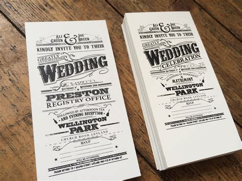Hand made victorian style screen printed wedding invites