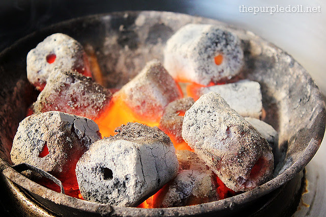 Charcoal for grilling at Masil Charcoal Grill Restaurant
