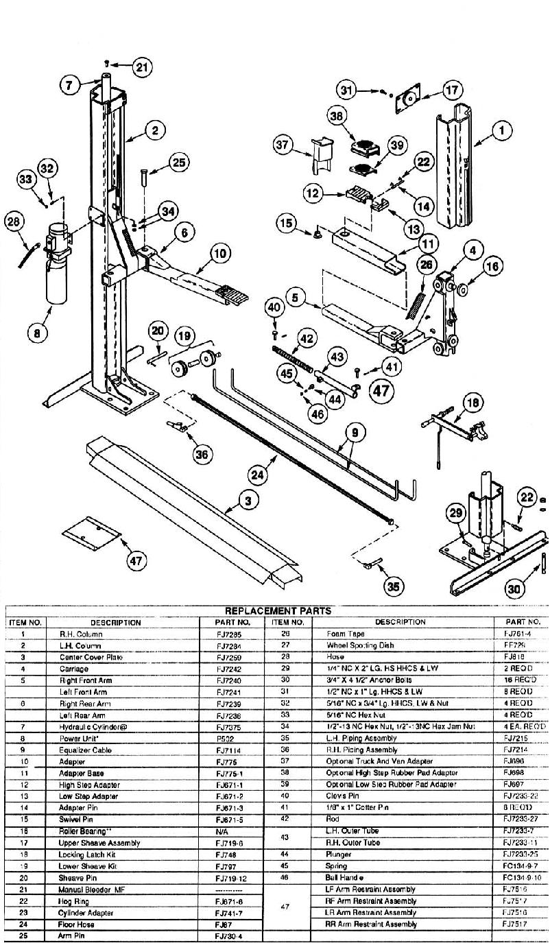 Rotary Lift Parts Diagram