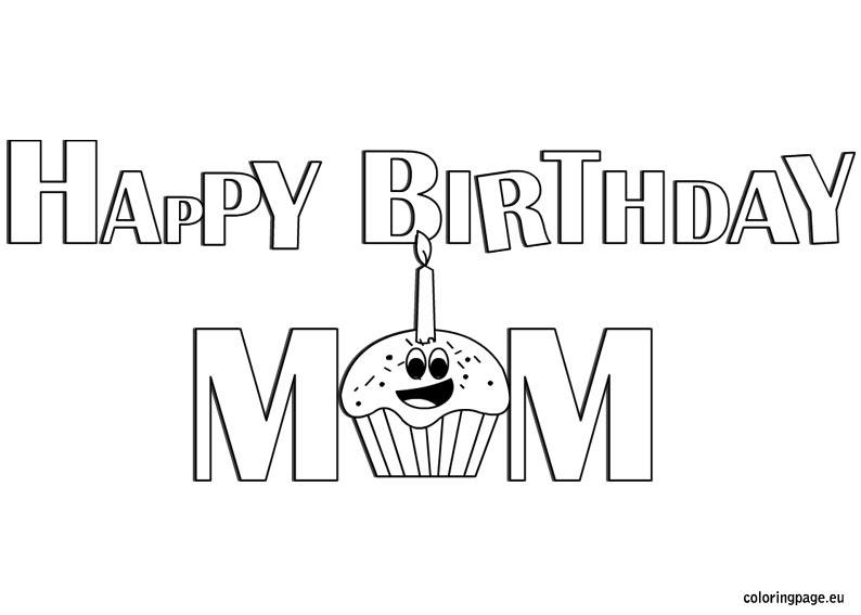 Happy Birthday Mom coloring - Coloring Page