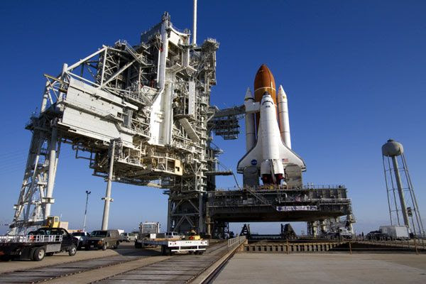 Space shuttle Endeavour sits atop her launch pad at Kennedy Space Center in Florida on March 11, 2011.