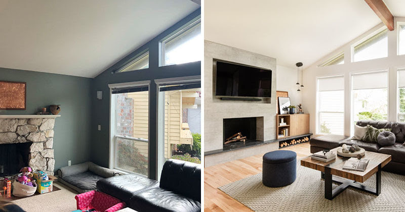 Before After Living Room Renovation With A Recessed Tv
