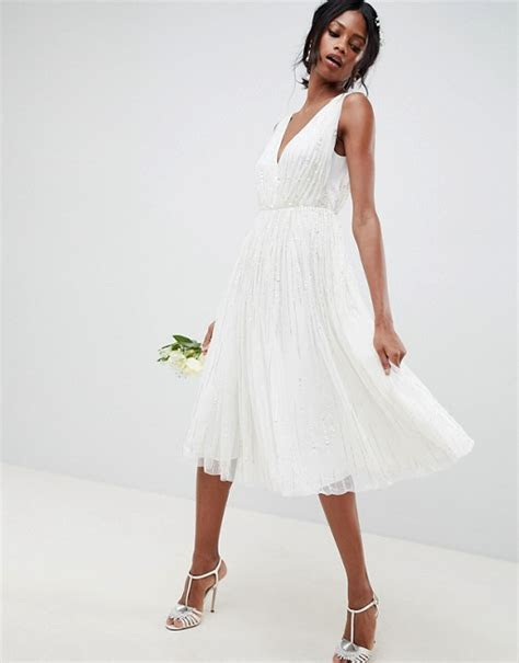 ASOS EDITION waterfall sequin midi wedding dress   ASOS