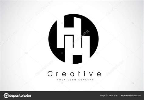 hh letter logo design   black circle stock vector