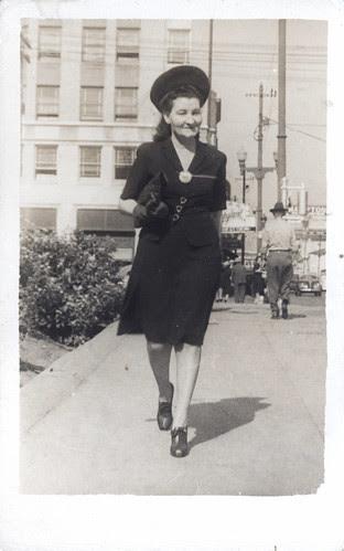 Laura on the sidewalk