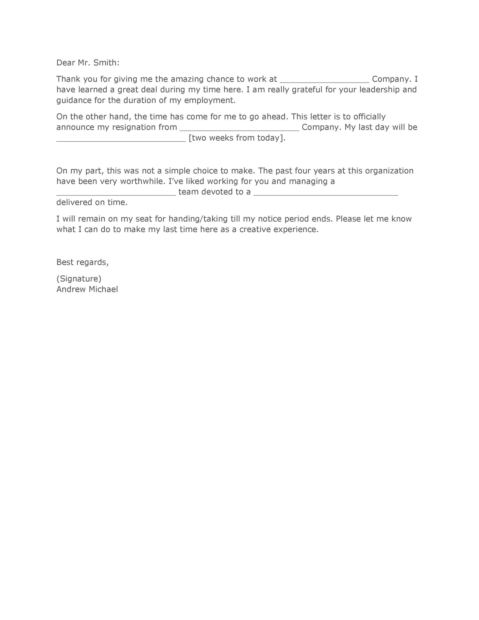 Two Weeks Notice Letter Of Resignation from lh5.googleusercontent.com