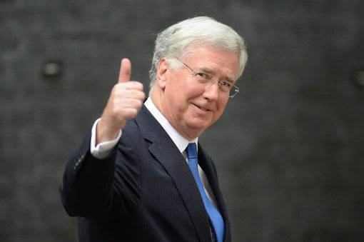 British Defence Secretary Michael Fallon thumbs up