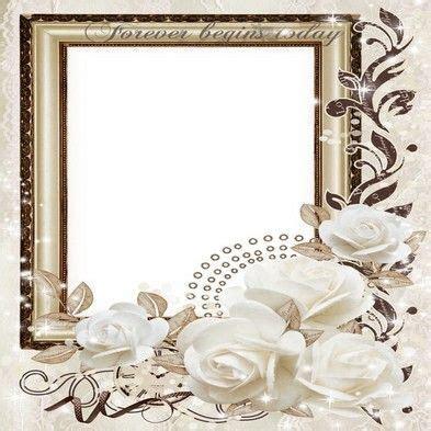 Free wedding png frame photo frame psd wedding white roses