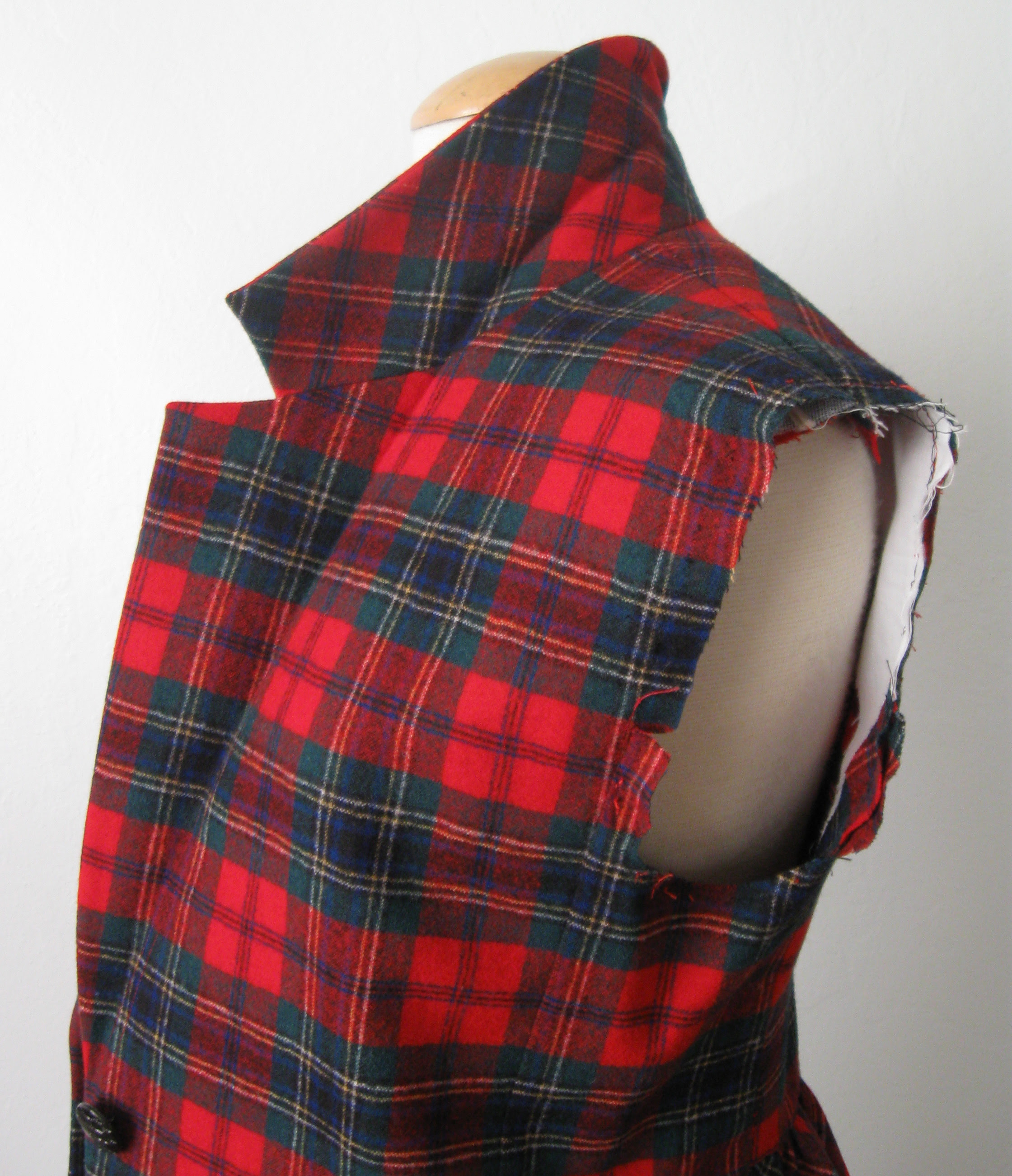 plaid jacket sleeve removed