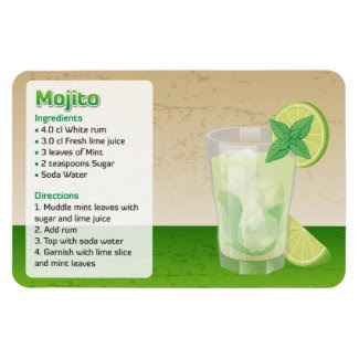 Mojito Recipe Flexible Magnets